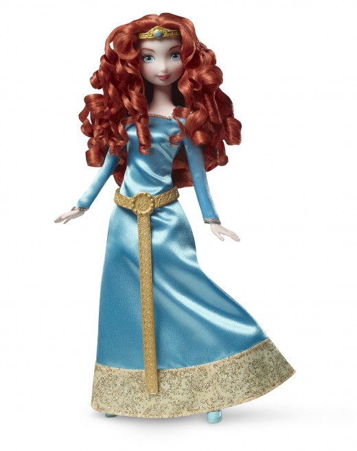 This is the doll they advertise on TV. She comes with bearcub triplets and the very dress that the Merida of the movie busts open while upstaging her suitors in an archery contest.