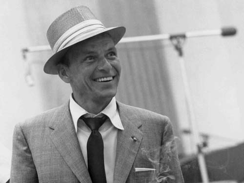 Frank Sinatra sporting a flat handkerchief in the 1950's