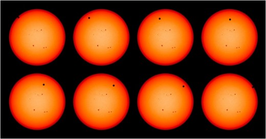 These photos from NASA's Earth Observatory clearly show the Venus Transit proceeding in a level trajectory across the Sun.