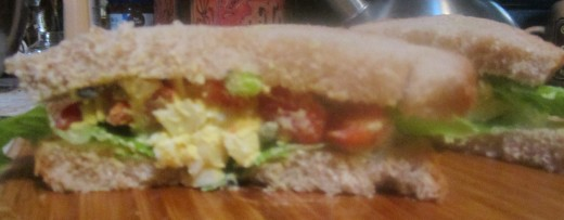 Egg salad is always delicious on bread!