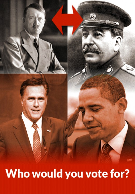 Would you vote for the lesser of two evils? Hitler or Stalin? Romney or Obama? (Photo credits, see below)