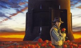 Roland at the Dark Tower, surrounded by the healing roses