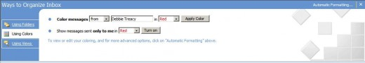 Organize Outlook Inbox Using Colors