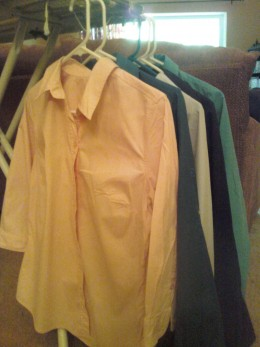 My iron board, iron, and collared shirts took a long vacation.