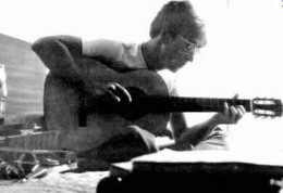 John, on the movie set, writing the next Beatle hit for 1967, Strawberry Fields Forever in 1966