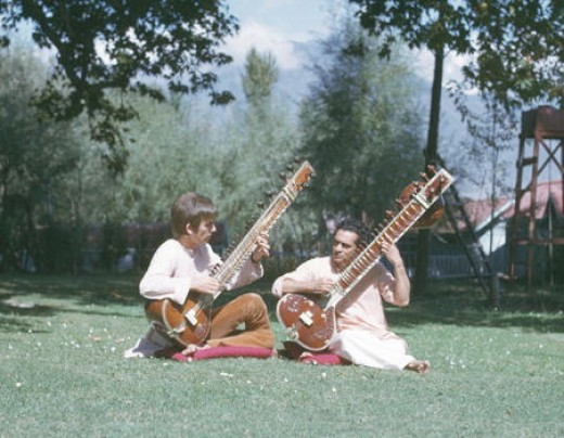 George in India learning the sitar