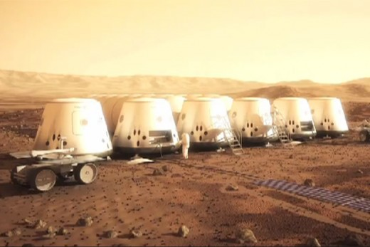 A neighborhood in East Cydonia, home to the first human born on Mars