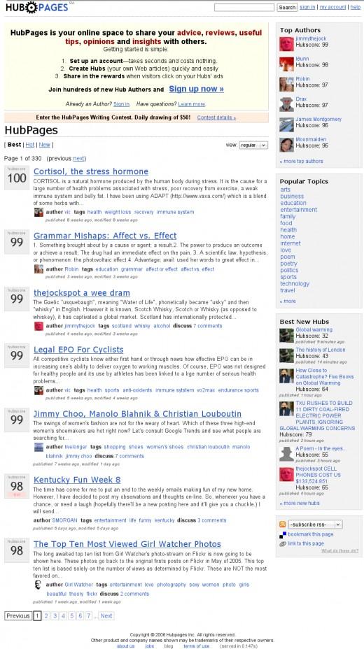 HubPages.com on November 8th, 2006