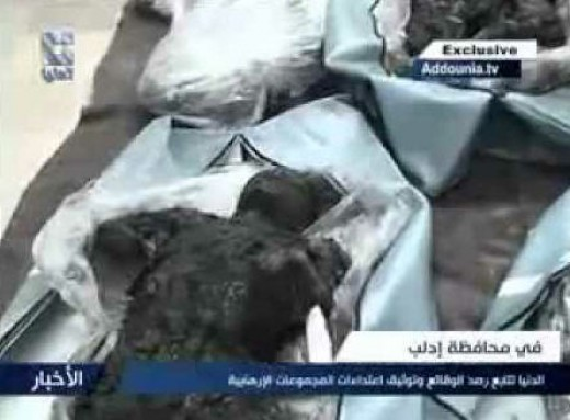 A charred body in Syria