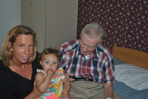 This is me with my grandfather (yesterday) and my youngest granddaughter.