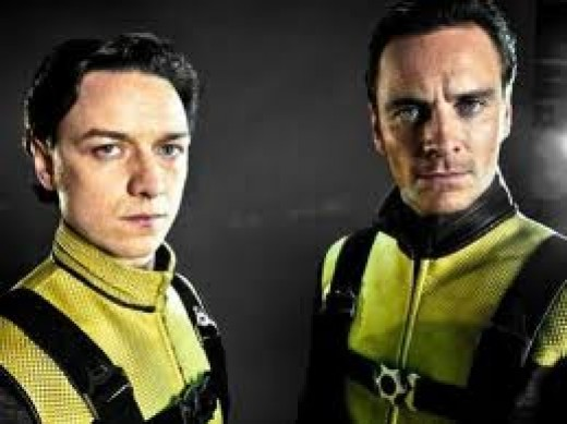 X-Men First Class stars James McAvoy and Michael Fassbender as Professor X and Magneto.