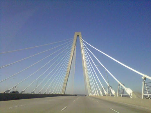 A marvelous work of art and a picturesque view of the city for FREE!  Arthur Ravenel Bridge from Mount Pleasant SC to Charleston SC
