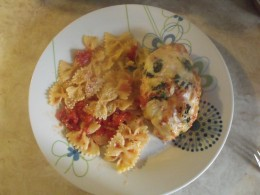chicken parmesan with bowtie pasta