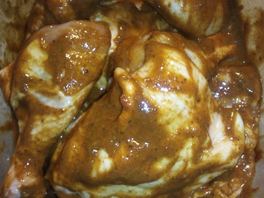 Chicken marinading in yogurt