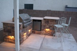 Outdoor kitchen built with Backyard Flare construction plans.