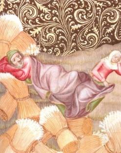 Ruth lay crossways at Boaz's feet.