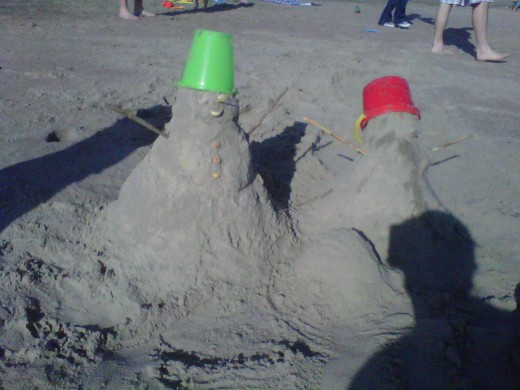 What do you do when it's Winter break and you live at the ocean? Make a sandman...of course!