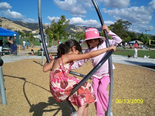 Girls playing at A park.