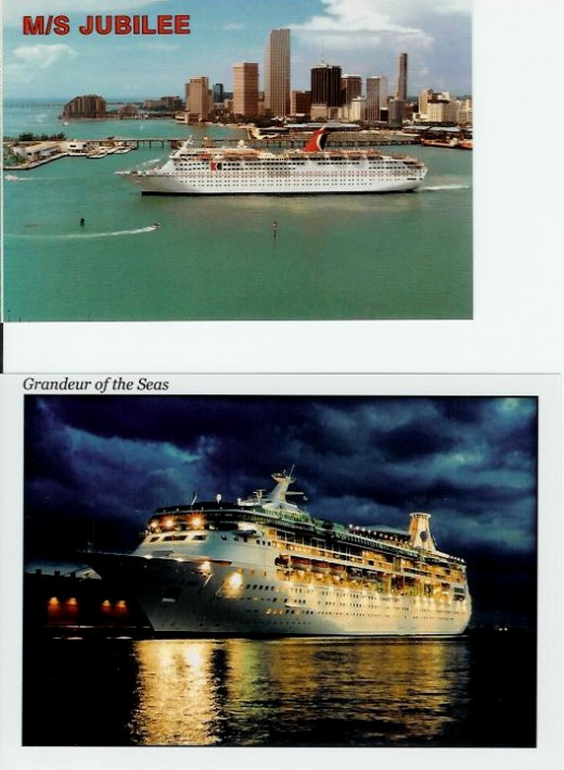 1989 honeymoon cruise on the Carnival Jubilee and and a 2009 (20 year) cruise on the Royal Caribbean Grander of The Seas