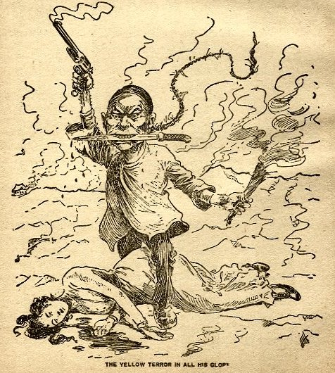 The Yellow Peril! Old racist cartoon demonizing the Chinese in  early America.