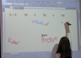 Using the withe board as a demonstration for the adults.