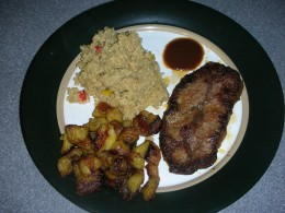 Beef with a side of quinoa and plantains