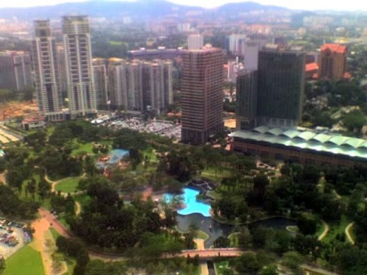 mountains, trees and water, view from the petronas towers