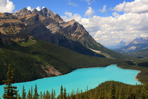 Peyto Lake in Banff National Park is one of the many beautiful sites and attractions. Over 3 million people visit the park every year.