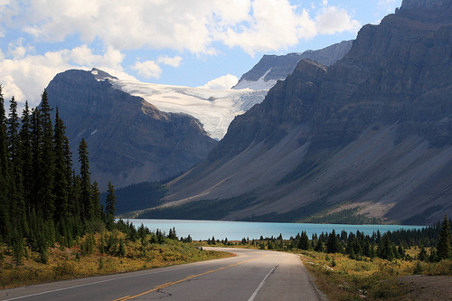 Bow Lake is also located in Banff National Park.  Back country expeditions of hiking, climbing, or skiing required a permit and are not for the inexperienced traveller.