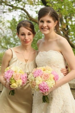 Re-posted with permission.  Me and my cousin at her wedding, May 2009.