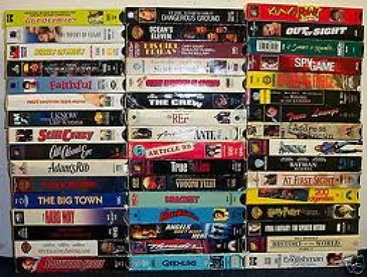 Old VHS tapes. Boy did they ever take up ROOM! If you go into second hand stores you'll find piles of these.