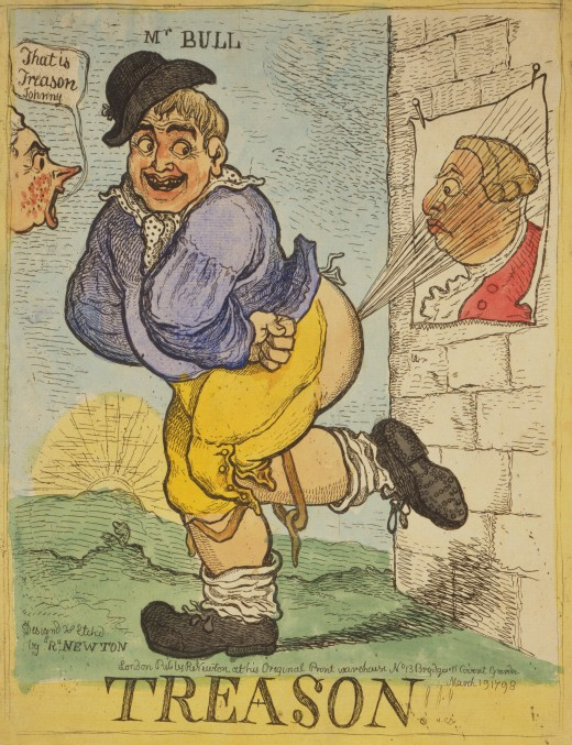 John Bull emits an explosive bout of flatulence at a poster of George III as an outraged William Pitt the Younger ticks him off. Proof it was even considered funny in 1798.