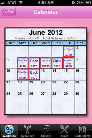The calender tool which allows you to schedule a workout and see your volume. (In case you were wondering, pink is not the default color, I just made mine that way!)