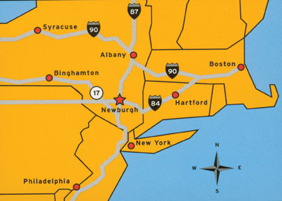 Newburgh is located at the red star, not far from NYC. Click to enlarge image.