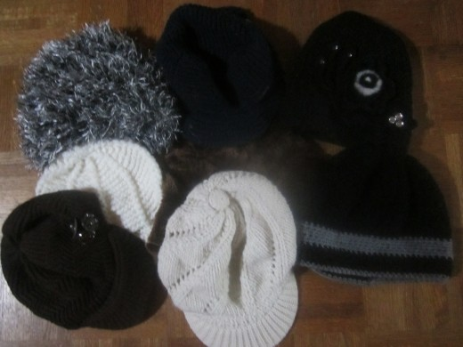 Rimmed and unrimmed beanies. Check out the fancy one--top right!