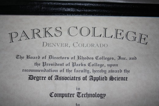 Picture of my Associates Degree in Applied Science