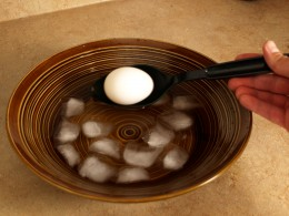 After 10 minutes remove the eggs and place them in cold water or a ice bath.
