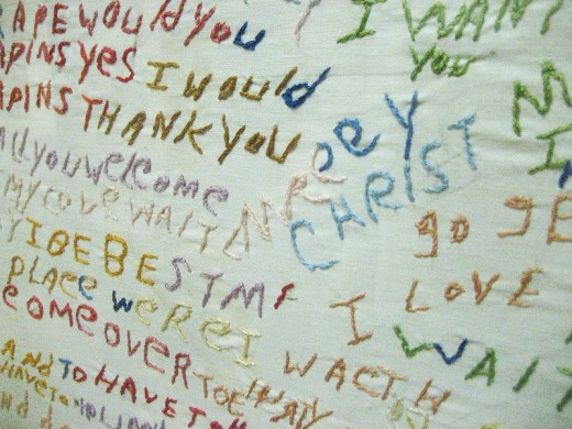 Schizophrenic Writing Embroidered on Cloth
