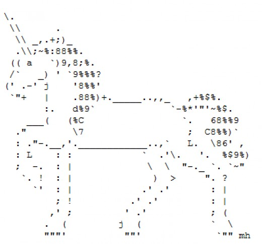 One Line Ascii Art For Texting : The legendary virginal unicorn in ascii text art hubpages