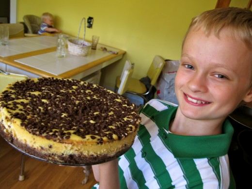 My 10 year old- his self confidence is building and he makes a killer chocolate chip cheese cake!