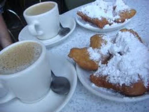 French Donuts with coffe, or hot chocolate.