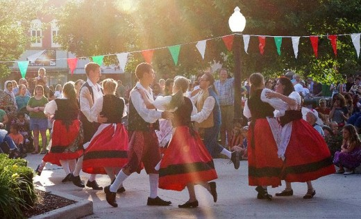 Italian folk dancers at the All Things Italian Street Festival, Fairfield, IA