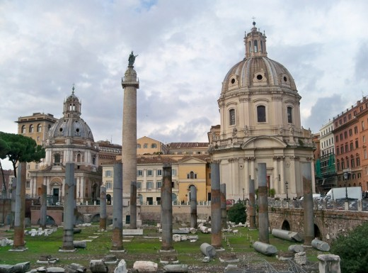 Trajan's Column, ruins of Basilica Ulpia and the Church of the Most Holy Name of Mary