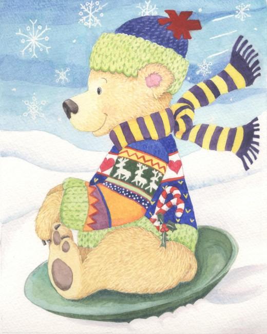 "Christmas Card 2011, ""Sledding Teddy"" original watercolor 10 x 8"""