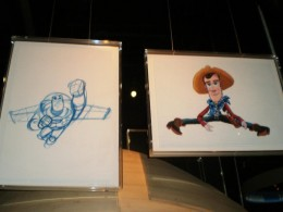Drawings of Toy Story characters on display at ACMI.