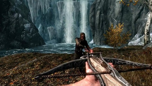 A crossbow in action.