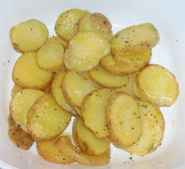 Simple microwaved potatoes can be served with beans and another vegetable for a tasty meatless meal.