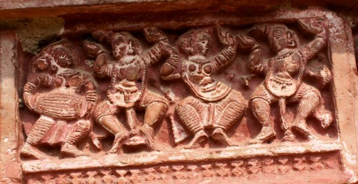 Krishna dancing with Gopini-s; Gaudya Nrittya; Ramchandra temple, Guptipara