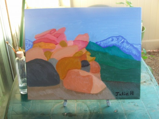 The painting of the view from the Rim during daylight hours.