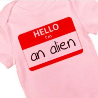 The first human birth on Mars has inspired a new range of alien baby onesies.